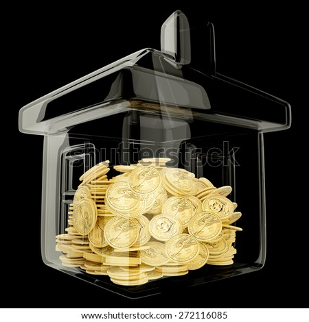 house shaped money box with a coin as concept for mortgage or real state investment - stock photo