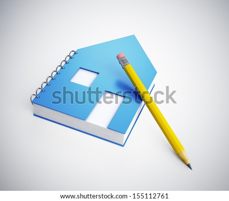 House shaped note pad concept illustration - stock photo