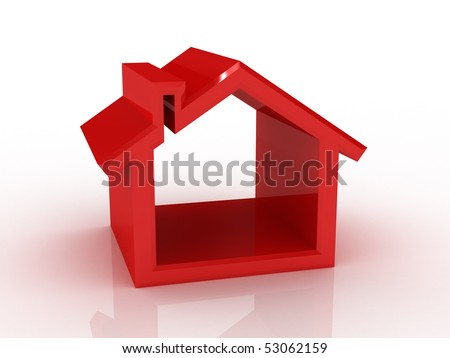 house silhouette - stock photo