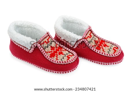 house slippers isolated on white background - stock photo