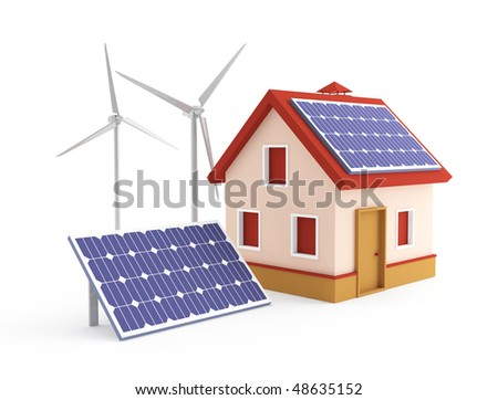House solar panel and wind turbine - stock photo