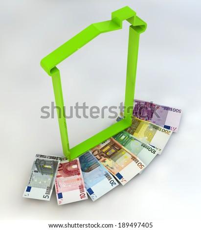 House spending tax money IMU euro banknotes - stock photo