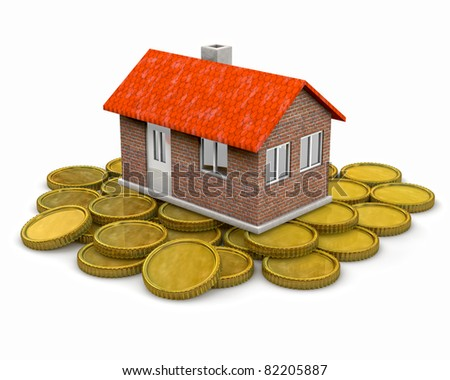house standing on a heap of coins