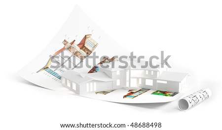 house standing on project. Composition isolater on white background - stock photo