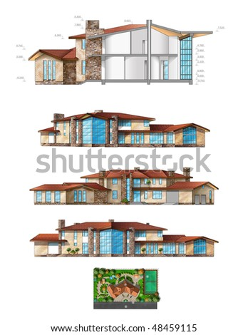 House standing on project paper isolated on white - stock photo