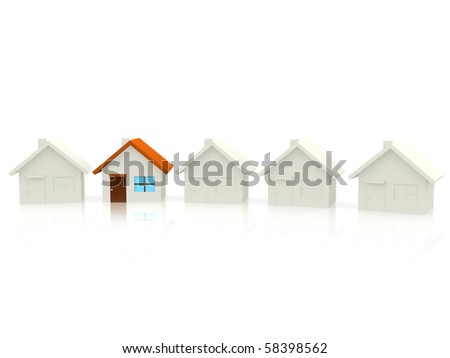 House standing out of crowd isolates over a white background