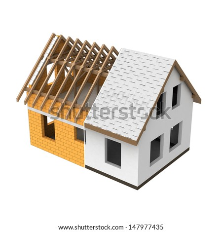 house structural two section transition illustration - stock photo
