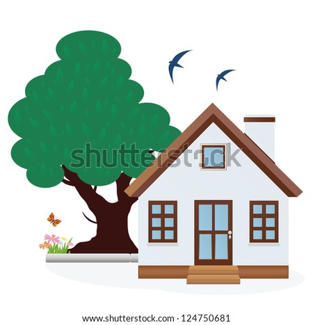 House. Summer. Raster version. Vector in my portfolio - stock photo