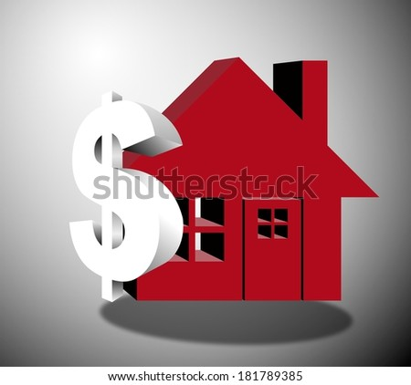 House supported by dollar sign 3 dimensional - stock photo