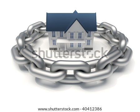 House surrounded by a chain - home security concept - 3d render - stock photo