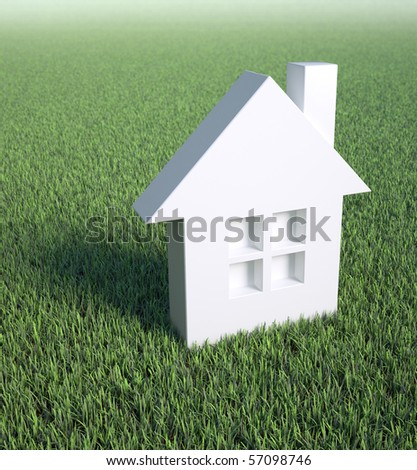 House symbol in a field of grass - stock photo