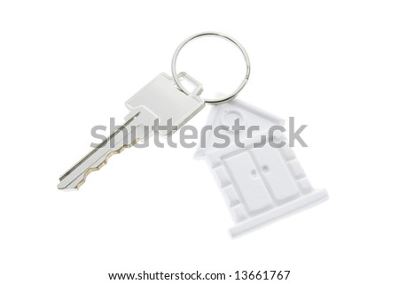 House Symbol Key Ring on White Background