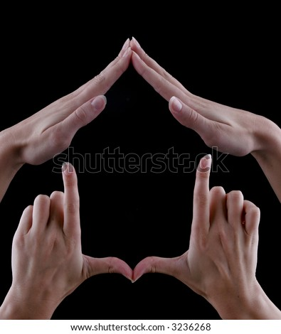 House symbol made with hands - stock photo