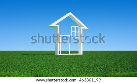 house symbol on green grass, 3D image