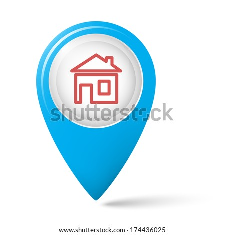 House symbol on the map index. - stock photo