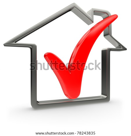 House symbol with red check mark - stock photo