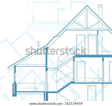 house technical draw blueprint - stock photo