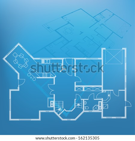 house technical draw blueprint. architectural project - stock photo