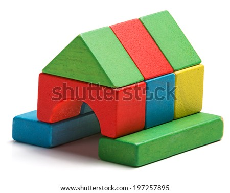 house toy blocks isolated white background, little wooden home - stock photo