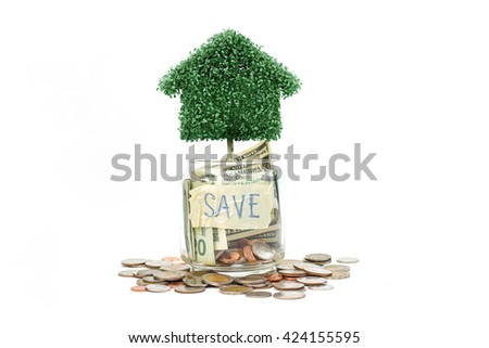 house tree with saving money. Money concept. - stock photo