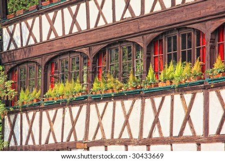 house type alsacien in Strasbourg France - stock photo