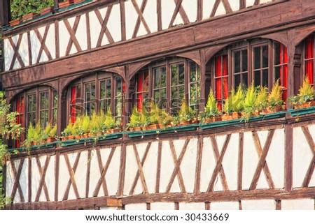 house type alsacien in Strasbourg France - stock photo