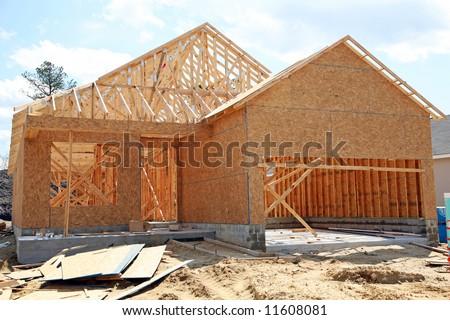 house under construction - stock photo