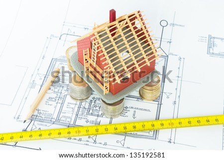House under construction - designed by an architect - stock photo