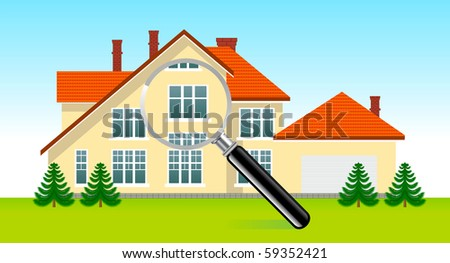 House under magnifying glass - stock photo
