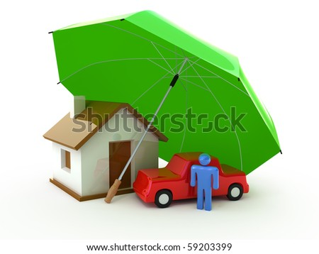 House under Umbrella - stock photo