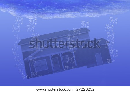 House underwater - stock photo