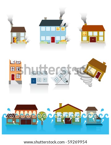 House Vector Icon (shocked by the disaster)