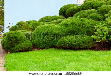house wall and green garden on a hill  - stock photo