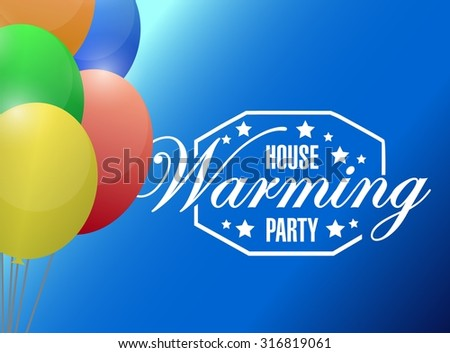 house warming party balloons background sign illustration design graphic - stock photo
