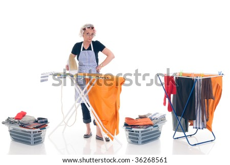 House wife, clothesline with washed clothing, basket with ironed goods, daily household.