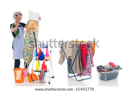 House wife, clothesline with washed clothing, basket with ironed goods, ladder with cleaning products, daily household.