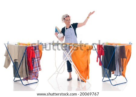 House wife, clothesline with washed clothing,  daily household. - stock photo