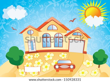 House with a garden and a car on a background of blue sky