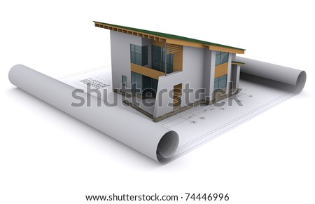house with a green roof is on the construction drawings - stock photo