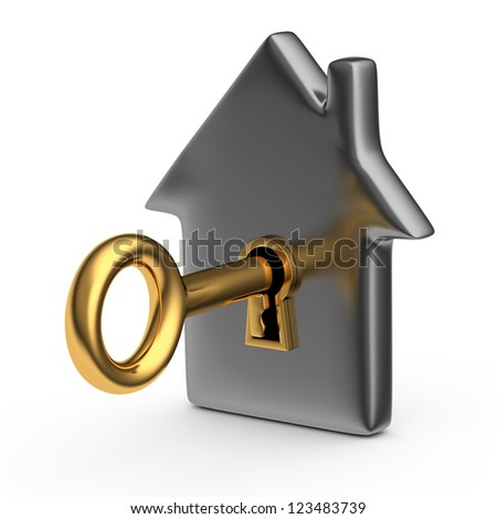 House with a key. Isolated on a white - stock photo