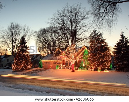 House with Christmas lights in Minnesota - stock photo