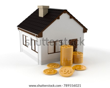 House with coins isolated on white background. 3d illustration