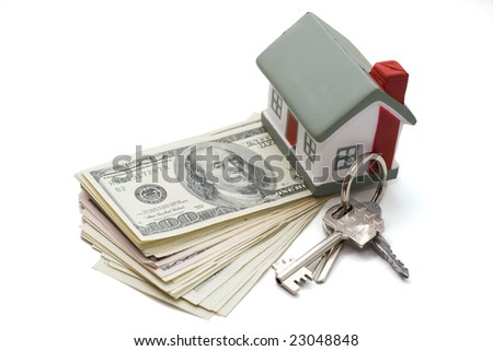 house with dollar bills background - stock photo
