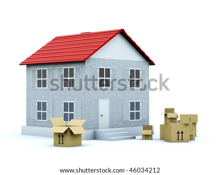 House with empty boxes isolated on white - stock photo