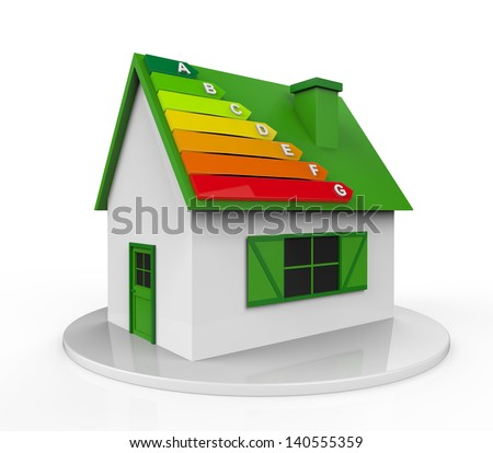 House with Energy Efficiency Levels - stock photo
