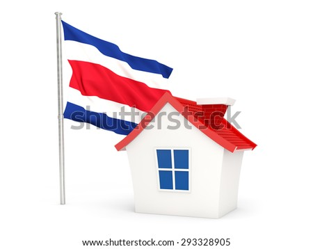 House with flag of costa rica isolated on white