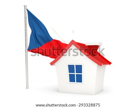 House with flag of czech republic isolated on white