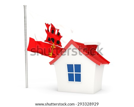 House with flag of gibraltar isolated on white