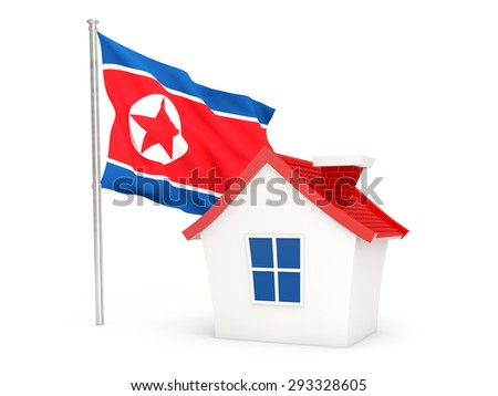 House with flag of korea north isolated on white