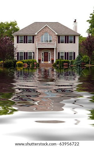 House with flood damage concept with water reflections. - stock photo